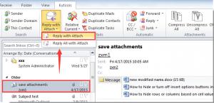 MS Outlook: odpowiedź z załącznikiem